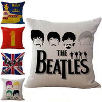 Wholesale beatles pillows - Rock Band The Beatles Pillow Case Cushion cover Linen Cotton Throw Pillowcases sofa Bed Pillow covers Drop shipping