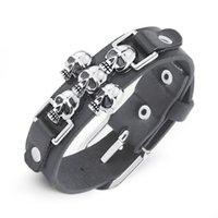 Wholesale Belted Bangle Bracelet - Wholesale-Free Shipping Skeleton Skull Punk Gothic Rock Leather Belt Buckle Bracelets For Women Men Bracelets & Bangles S301