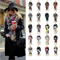 Wholesale Plaid Blankets Scarves Check Pashmina Tartan Tassel Scarf Grid Shawl Cozy Fashion Wrap Oversized Cashmere Lattice Neck Stole Neckchief B2258