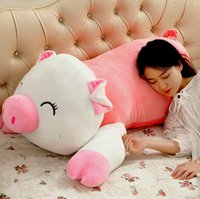 gros soutiens-gorge achat en gros de-Nouveau Lovely 120cm Large Soft Cartoon Lying Pig Peluche Pillow Doll 47 '' Big Stuffed Animal Pig Kids Sleeping Toy Baby Gift
