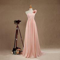 tek elli uzun elbisesi toptan satış-Allık Bir Omuz Nedime elbise El Çiçek Akşam elbise Uzun Şifon Kokteyl elbise Womens Bir çizgi Balo elbise Kat Uzunluk