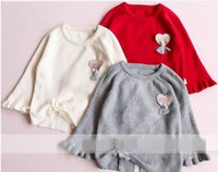 Wholesale Knit Girls Lace Cardigan - 2017 Autumn New Baby Girl Knitting sweater Patch love Hem lace-up long sleeve pullover Children Clothes 317326