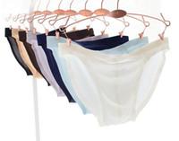 Wholesale Wholesale Plus Size Piece - mens ice silk underwear ultra thin transparent man briefs one piece seamless underwear plus size bries D512 M L XL 2X 3XL