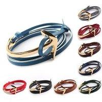 Wholesale Gold Id Bracelets For Men - JLN Multi Layers Viking Gold Plated Nautical Pulsera Anchor Men PU Leather Alloy Bracelet for Women Friendship