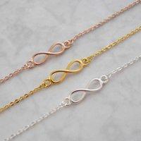 Wholesale Infinity Bracelets Sets - Wholesale-Famous brand jewelry simple couples love mens bracelet and bangles cute gold silver charm geometric infinity bracelets for women
