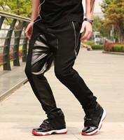 pantalones de chándal de pyrex al por mayor-Al por mayor-2014 la moda de cuero entrepierna pantalones de cuero de los hombres pantalones de chándal jogger pantalones hip hop cuero harem baggy pyrex hba