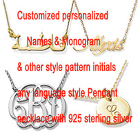Wholesale Sterling Gold Color Chain - Customized Name Necklace Personalized Arabic Font Sterling Silver Script Gold & Silver Color Any Font Monogram Initials Necklaces