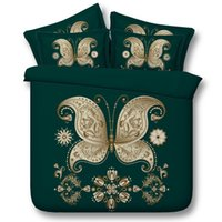 Wholesale Butterflies Bedding - 5 Styles Golden Green Butterfly 3D Printed Bedding Sets Twin Full Queen King Size Fabric Cotton Bedclothes Dovet Cover Fashion Design 3 4PCS