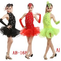 Wholesale latin dancing dresses children - Latin Dance Dress Children With Hand sewing Stone Girls Dance costumes Kids Ballroom Dance Competition Rumba Cha Cha Tango dancing Dresses
