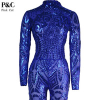 Wholesale Geometric Tattoos - Wholesale- Blue Rompers Womens Jumpsuit Romper Sexy Gold Geometric Tattoo Sequin Jumpsuit Women Long Sleeve Sequined Women Bodysuit Catsuit