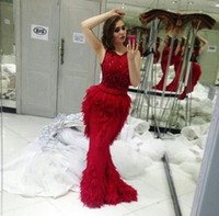 Wholesale China Bandage Dress - Red Luxury Vestido De Festa Mermaid Beading Evening Dresses With Feathers Floor Length Custom Made Gowns Prom From China