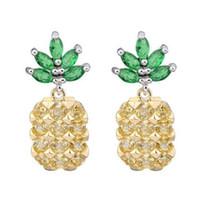 Wholesale Designer Gemstone Earrings - Pineapple Earrings Big Gemstone Crystal Sterling Silver Designer Earrings Female Ear Stud 925 Silver Needle Earrings Women Charm Ear Stud