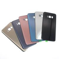 partes de cinta al por mayor-Para Samsung Galaxy S8 SM-G950 S8 + plus carcasa de la contraportada Reemplazo de la puerta de la batería con cinta adhesiva piezas de colores de la placa