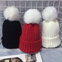 Wholesale Boy S Cap - Fur Pom Poms Ball Keep Warm Winter Hat for Women Girl 's Wool Hat Knitted Beanies Cap Thick Female Cap