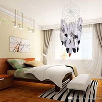 Lovely Indiana Dream Catcher Net con piuma caffè scuro bianco perline Dreamcatcher circolare appeso a parete Car Home Decor regalo