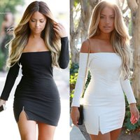 Wholesale Women Casual Summer Party Clothes - Fashion Women Clothing Sexy Off Shoulder Bodycon Mini Dress 2017 Women Long Sleeve Split Party Dresses Clubwear Slim thick Pencil Dresses