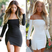 Wholesale Fashion Women Clothing Sexy Off Shoulder Bodycon Mini Dress Women Long Sleeve Split Party Dresses Clubwear Slim Pencil Dresses