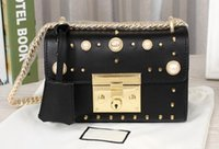 Wholesale Studded Bags Black - Women 432182 Padlock Studded Leather Shoudler Bag,100% Genuine Leather,Structured chain,Key Lock Closure,Gold toned and glass Pearl studs