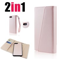 Wholesale leather folding phone wallet case - Premium Luxury Phone Cases for iPhone 6, 7, 8, X, Detachable Magnetic Snap-On with Card Slots Tri-Folded Leather Wallet Cases Cover SCA319