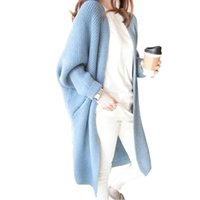 Wholesale Oversized Loose Knitted Batwing Cardigan - Long Cardigan Autumn Winter Women Sweater Ladies Solid Knitted Overcoat Casual Loose Poncho Female Oversized Sweater FS3068
