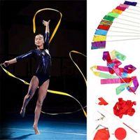 Wholesale Ribbon Batons - 400CM Dancing Ribbon Streamer Dance Baton Gym Rhythmic Ribbons with Wand Art Artistic Gymnastics Ballet Rod Stick for Women Girls Kids