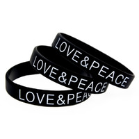 Wholesale silicone wristband printed logo - Wholesale 100PCS Lot Printed Logo Love and Peace Silicone Wristband A Great Way To Show Your Support