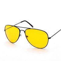 Wholesale Wholesale Lense Glasses - Wholesale-Night Driving Sunglasses Men Metal Frame Yellow Lense Night Vision Goggles Brand Men's Sun Glasses L4