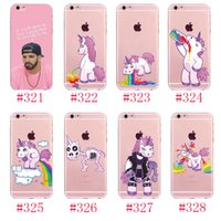 Wholesale Transparent Coloured Iphone Cases - For iphone Soft Unicorn Back Cover Graffiti coloured drawing or pattern TPU soft case with 1 OPP bag Cell phone cases