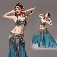 Wholesale Bras Skirts Set - Stage Performance Women Dancewear Tribal Bellydance Outfit Set C D Cup Coins Bra Skirts Belly Dance Costume 2pcs Bra Skirt