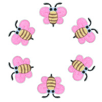 Wholesale Pink Iron Patches - 10pcs Pink bees badges patches for clothing iron embroidered patch applique iron on patches sewing accessories for Diy clothes