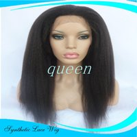 Wholesale Cheap Italian Lace Front Wigs - Long Cheap wigs Looking Kinky Straight Synthetic Wig Heat Friendly High Quality Italian Yaki Lace Front Synthetic Wigs For Black Women