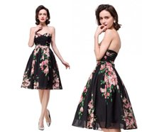 Wholesale Simple Short Bridesmaid Dresses Sweetheart - 2017 Floral Print Knee Length Country Bridesmaid Dresses Sweetheart Short Maid of Honor Gowns Black Chiffon Beach Party Dress
