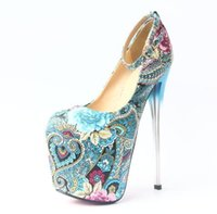 Wholesale 19 Cm High Heels - women sexy floral printed pumps women party shoes platform pumps wedding shoes stiletto heels pointed toe dress shoes heel height 19 cm