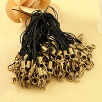 Wholesale Clasp Kits - 200pcs Black Lariat Lanyard mobile straps lobster jump rings Hang Rope cell key chain art Charm Clasps Connector hook jewelry sangles kit