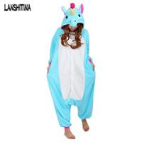 Wholesale Winter Pajamas For Women - Wholesale- New Women Pajama Flannel Unicorn Cartoon Cosplay Adult Unisex Homewear For Adults Animal Pajamas Adult-Unicorn-Pajamas Winter