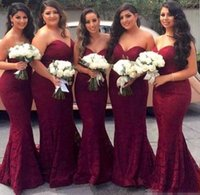 Wholesale silk back wedding dress for sale - Group buy 2017 Burgundy Sweetheart Full Lace Bridesmaid Dresses Zipper Back Long Maid of Honor Gowns Mermaid Prom Evening Gowns Wedding Guest Dresses