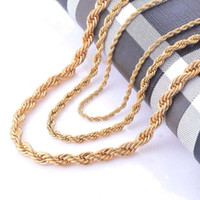 Wholesale Swag Necklaces - Width 2 4 6mm Stainless Steel Gold Rope Chain Necklace Statement Swag 316L Stainless Steel Twisted Necklace Chain Gold