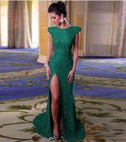 Wholesale Sexy Slit Mini Dress - 2017 Emerald Green Long Mermaid Evening Dresses Side Slit Prom Gowns bateau Neck Back Zipper Formal Gowns Cheap Pagenat Dresses Hot Sales
