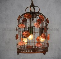 Wholesale Chinese Garden Lamps - Vintage Pendant Lamp Chinese Antique Style Creative Garden Pendant Lamp Leaf Decor Suspension Lamp Cage Lights MYY