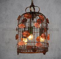 Wholesale Antique Art Deco - Vintage Pendant Lamp Chinese Antique Style Creative Garden Pendant Lamp Leaf Decor Suspension Lamp Cage Lights MYY