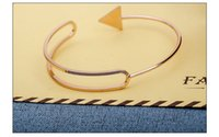 Wholesale Irregular Bangle - European and American fashion simple and easy triangular arrowhead irregular bracelet with double - double - dimensional open bracelet whole
