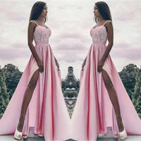Wholesale Cheap Girls Jackets - Sexy Pink Satin A Line Evening Party Wears For Black Girl Sweetheart Thigh High Split Floor Long Lace Appliques Prom Occasion Gowns Cheap