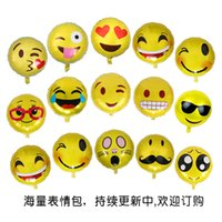 Wholesale Decorations For Kids Parties - 1000pcs Round Cute Emoji Balloon Foil Balloon Decoration Christmas Birthday Party For Kids Chirdren Multi Styles