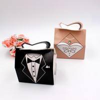 Wholesale Tuxedo For Year - 100Pair Bridal Groom Tuxedo Dress wedding candy box of cartoon folding carton gift boxes for wedding