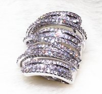 Wholesale Cylindrical Ring - zircon price Meandering Lines In Long Cylindrical Design With 218 Grain Shining AAA Zirconia Stone Big Rings For Women Fashion Jewerly 2017