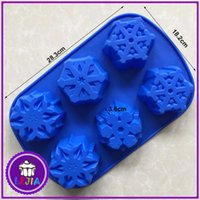 Wholesale Food Modelling - snowflake shape 6 holes Silicone Mold Cake Decoration tools Food Grade cake soap chocolate Moulds baking bakeware