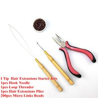 Wholesale Loop Extensions Pliers - Wholesale-Silicone Micro Rings Micro Links Hair Beads+Hook Needle+Loop Threader +Extensions Plier For I Tip Hair Extensions Starter Kits
