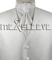 Wholesale Mens Vests Ascot Tie - white stripe Mens Tuxedo Vest and ascot tie cufflink handkerchief