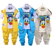 Wholesale Boy Toddlers Jacket - Wholesale- Kids Clothes Set Toddler Boys Clothing Baby Boys Cartoon Hello Kitty Vest Jacket T Shirt Pants Donald Duck Vetement Enfant