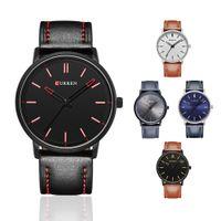 Wholesale Mens Curren Waterproof Watches - Mens Watches Top Brand Luxury Curren Men's Sports Quartz Watches Leather Wristwatches Waterproof Men Curren Watches 2016
